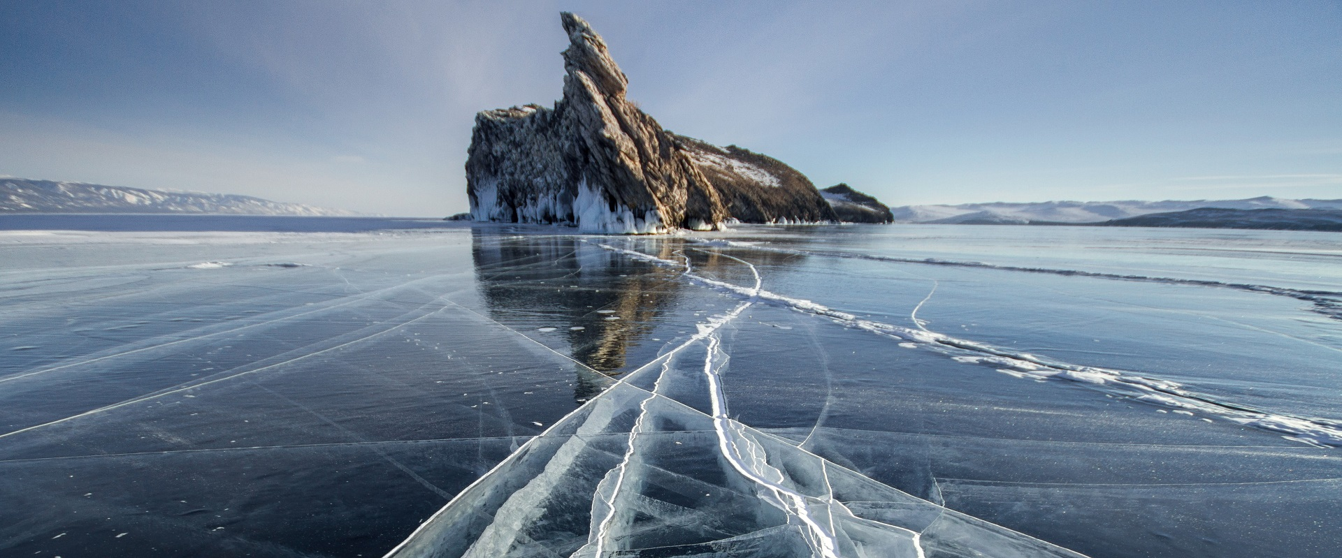 Lake Baikal frozen in winter, Russia, one of the other 7 wonders of the world.