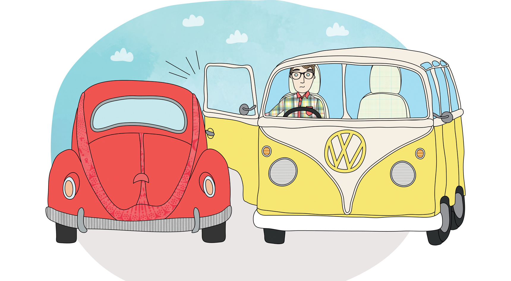 An illustration of a man in a van trying to open the door and hitting another red vehicle.