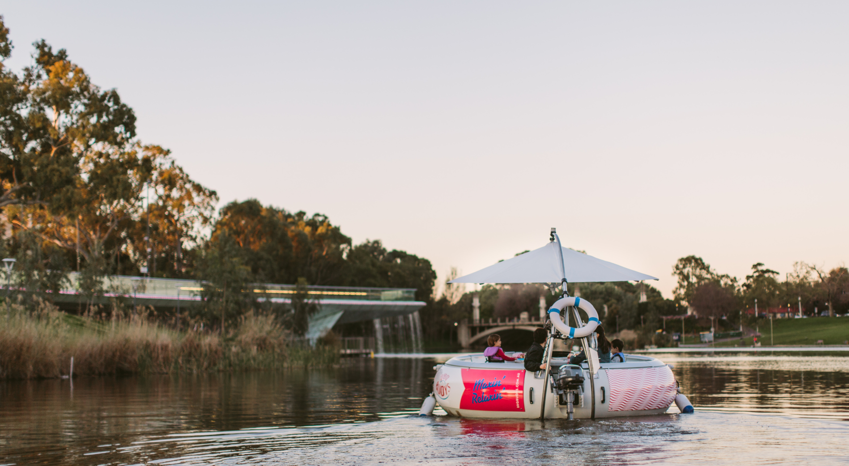 Cruise along the River Torrens with BBQ buoys. Image: SATC/Jessica Clark